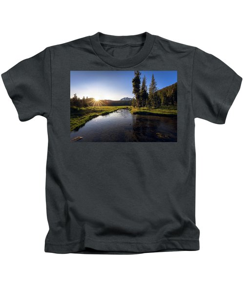 Sunset At Kings Creek In Lassen Volcanic National Kids T-Shirt