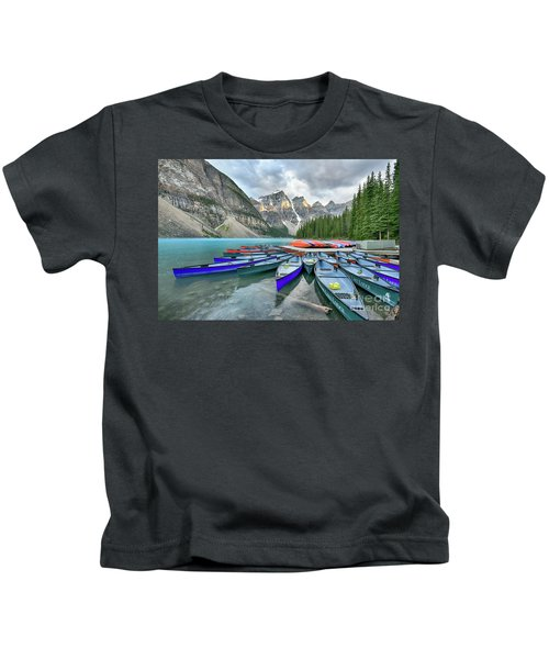 Sunset At Moraine Lake Kids T-Shirt