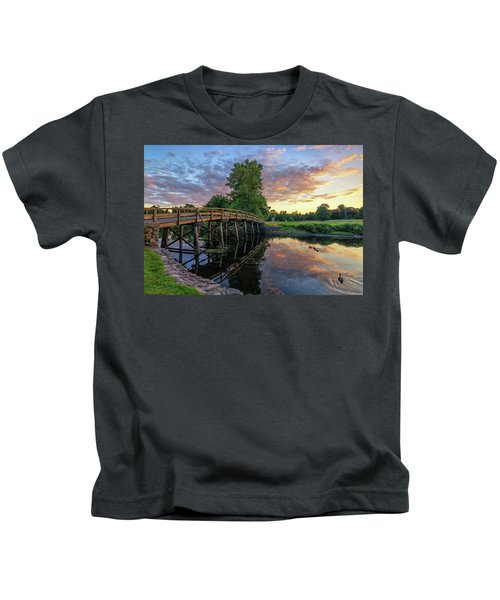 Sunset At The Old North Bridge Kids T-Shirt