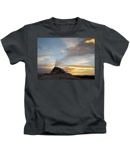 Sunset At White Dome Geyser Kids T-Shirt