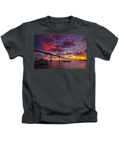 Sunset Crossing At The Coronado Bridge Kids T-Shirt