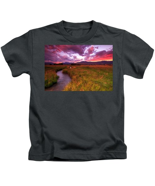 Sunset In The North Fields. Kids T-Shirt