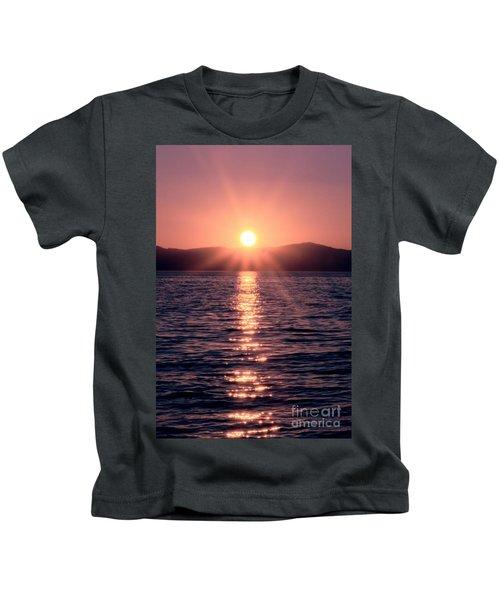 Sunset Lake Verticle Kids T-Shirt