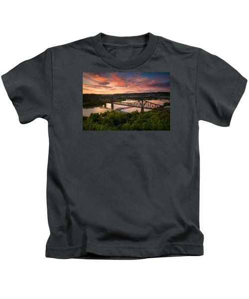 Sunset On Ohio River  Kids T-Shirt