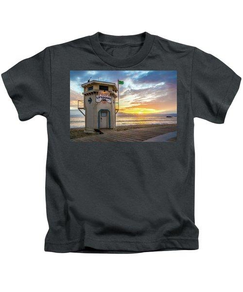 Sunset Over Laguna Beach Lifeguard Station Kids T-Shirt