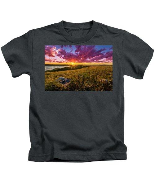 Sunset Over Lake Oahe Kids T-Shirt