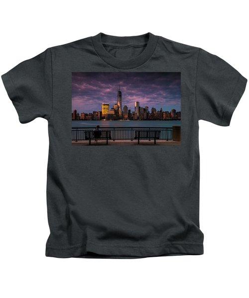 Sunset Over New World Trade Center New York City Kids T-Shirt