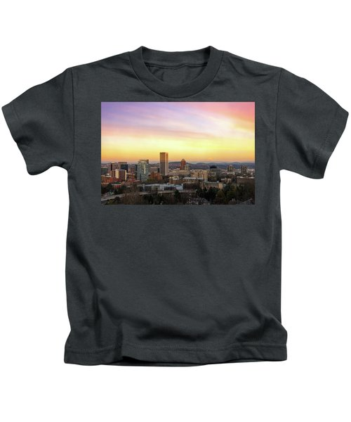Sunset Over Portland Cityscape And Mt Hood Kids T-Shirt