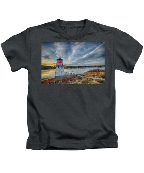 Sunset, Squirrel Point Lighthouse Kids T-Shirt