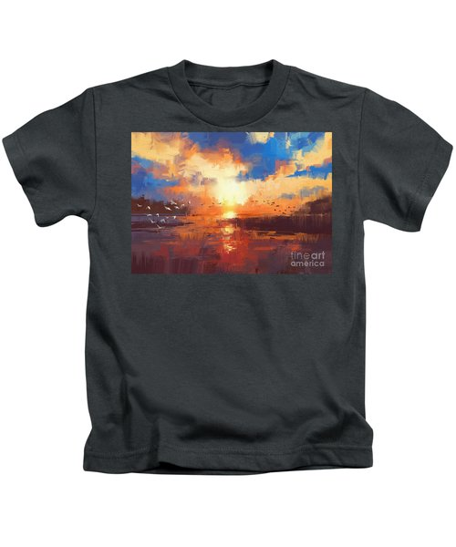 Kids T-Shirt featuring the painting Sunset by Tithi Luadthong