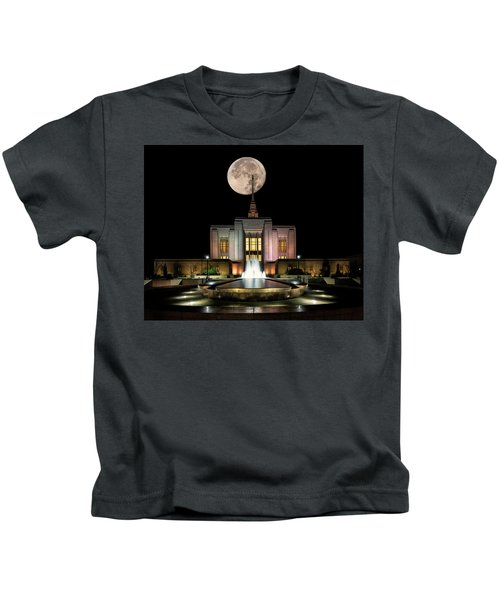 Super Moon At Ogden Lds Temple Kids T-Shirt