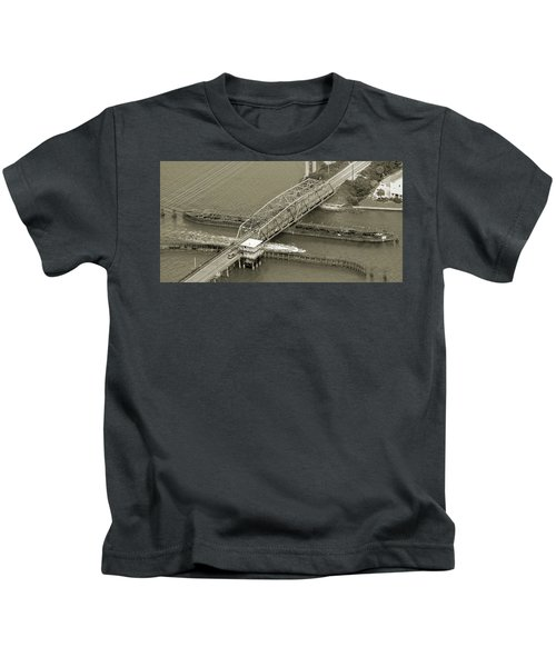 Surf City Swing Bridge Sepia Kids T-Shirt