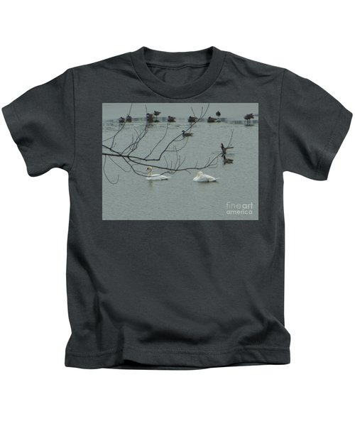 Swans With Geese Kids T-Shirt