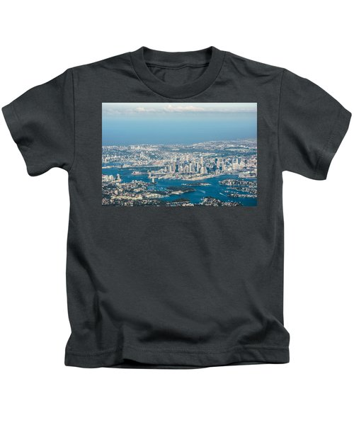 Sydney From The Air Kids T-Shirt by Parker Cunningham