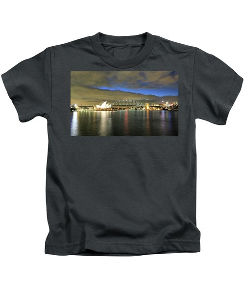 Sydney Harbor At Blue Hour Kids T-Shirt