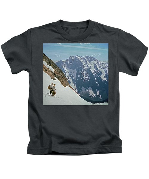 T-04402 Fred Beckey And Joe Hieb After First Ascent Forbidden Peak Kids T-Shirt