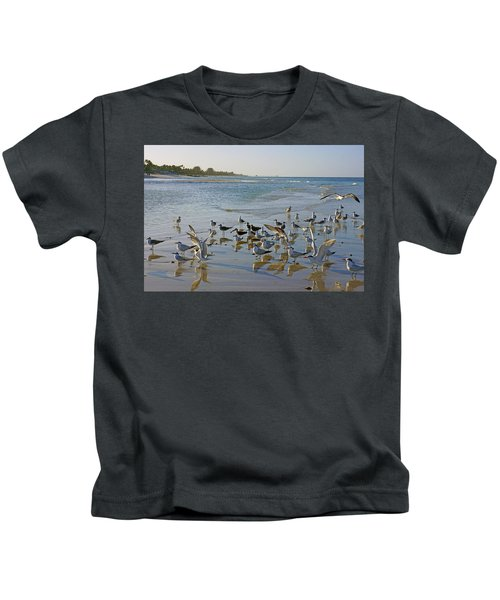 Terns And Seagulls On The Beach In Naples, Fl Kids T-Shirt