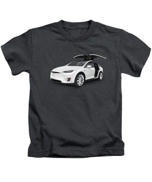 Tesla Model X Luxury Suv Electric Car With Open Falcon-wing Doors Art Photo Print Kids T-Shirt by Oleksiy Maksymenko