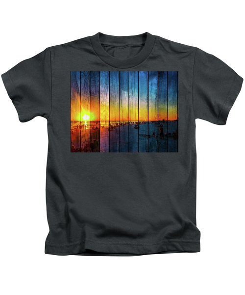 Kids T-Shirt featuring the photograph Siesta Key Drum Circle Sunset - Wood Plank Look by Susan Molnar