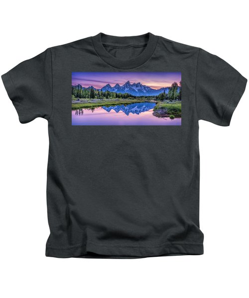 Sunset Teton Reflection Kids T-Shirt