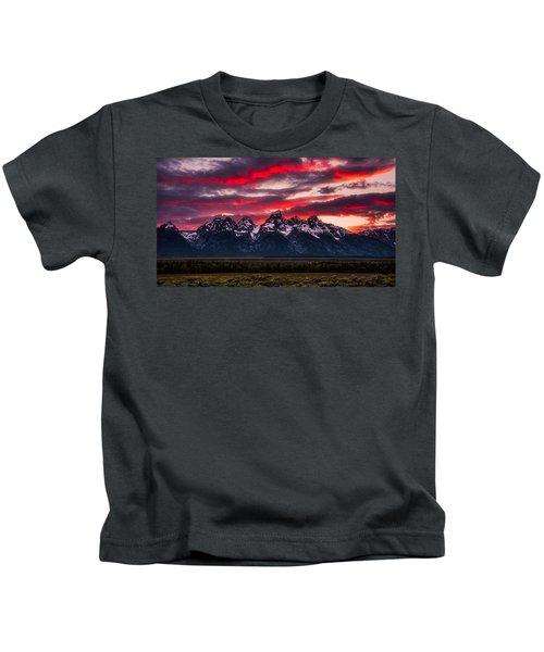 Teton Sunset Kids T-Shirt by Darren White