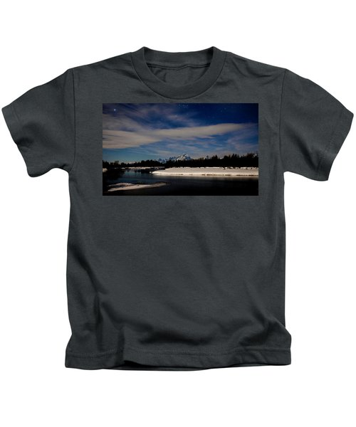 Tetons At Moonlight Kids T-Shirt