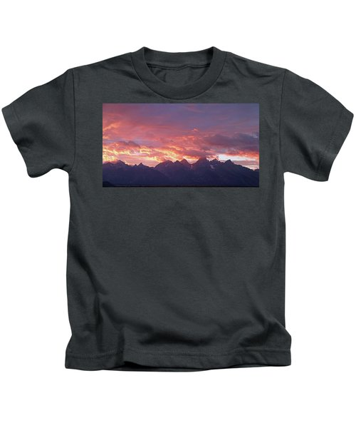 Tetons Sunset Kids T-Shirt
