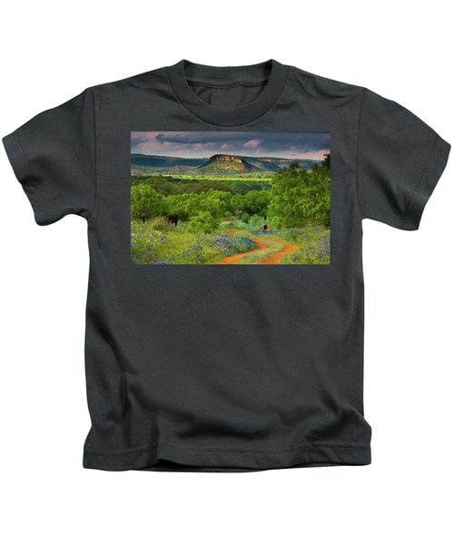 Texas Hill Country Ranch Road Kids T-Shirt