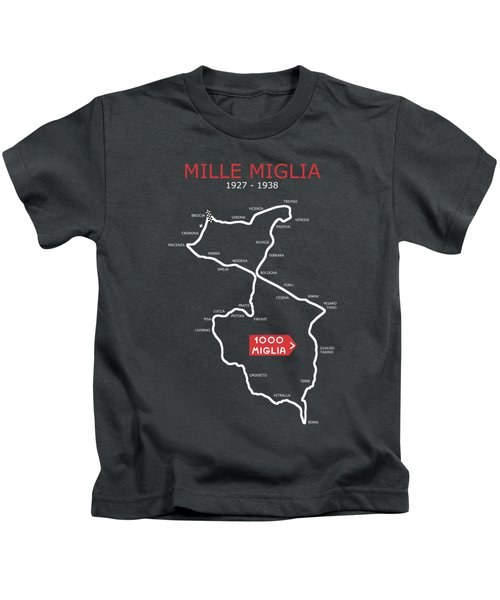 The 1927 To 1938 Mille Miglia Course Kids T-Shirt