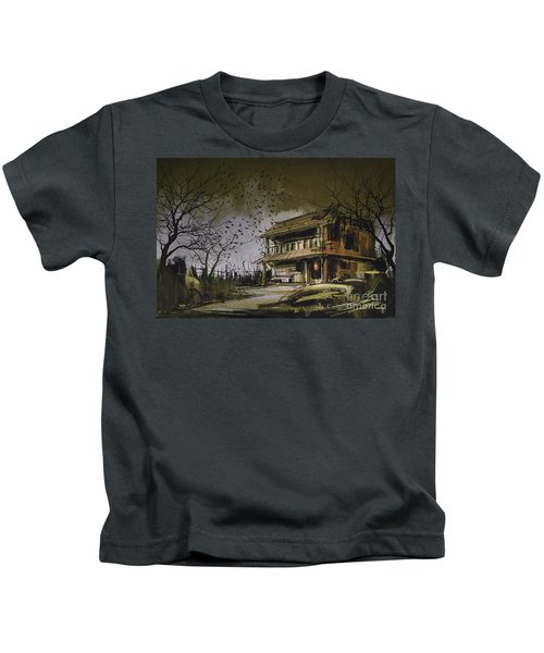Kids T-Shirt featuring the painting The Abandoned House by Tithi Luadthong