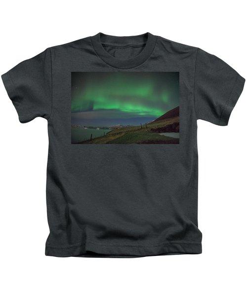 The Aurora Borealis Over Iceland Kids T-Shirt