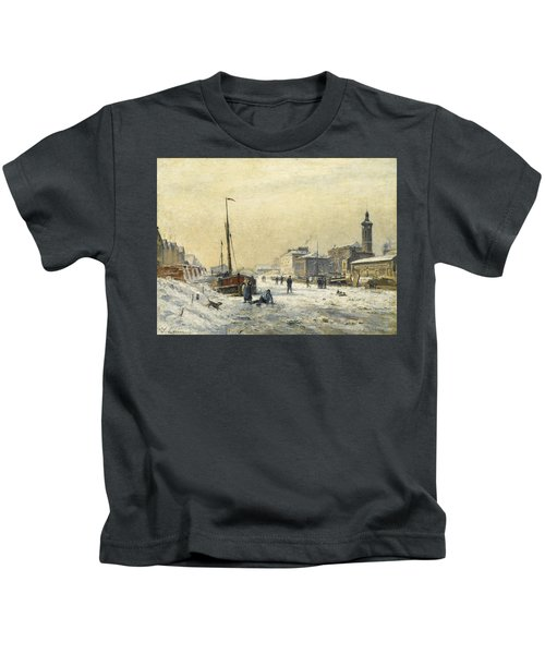 The Bassin De La Villette In Winter Kids T-Shirt