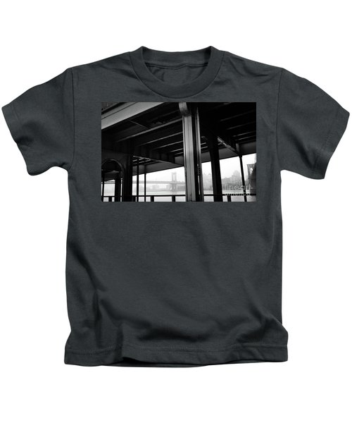 The Brooklyng Bridge And Manhattan Bridge From Fdr Drive Kids T-Shirt