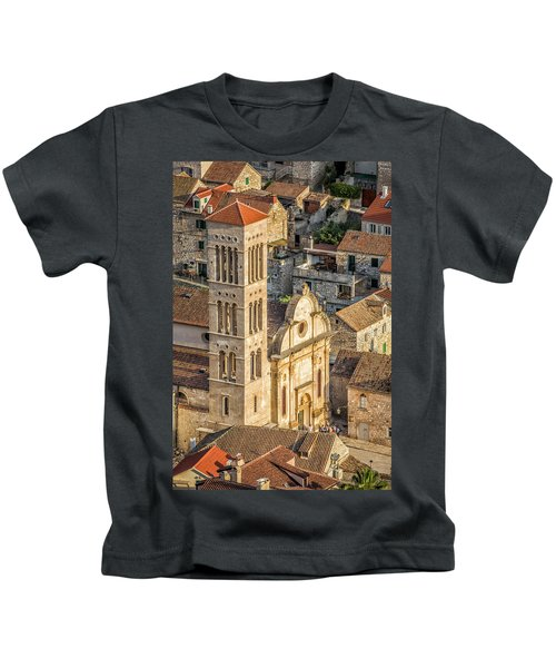 The Cathedral Of St. Stephan In Hvar, Croatia Kids T-Shirt