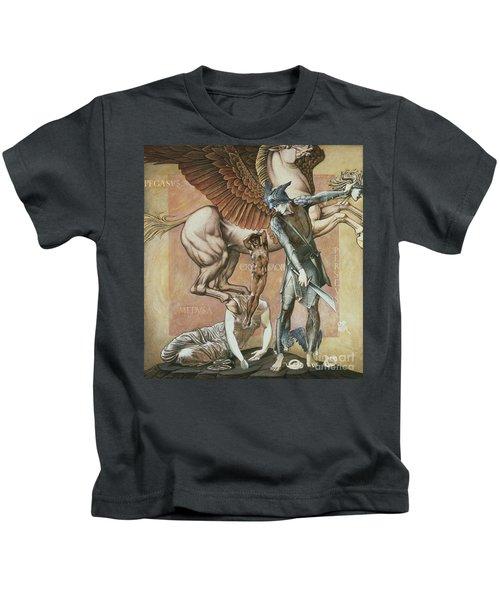 The Death Of Medusa I Kids T-Shirt by Edward Coley Burne-Jones