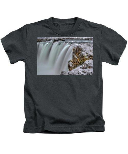 The Flowing Godafoss Falls Kids T-Shirt