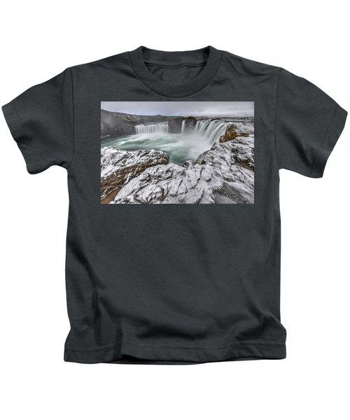 The Godafoss Falls In Winter Kids T-Shirt