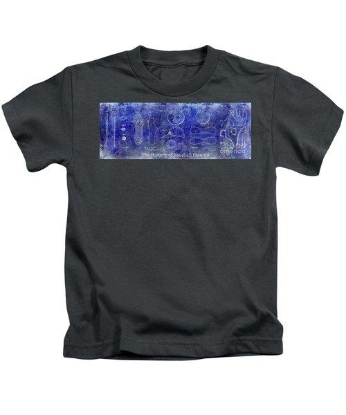 The History Of Baseball Patents Blue Kids T-Shirt by Jon Neidert