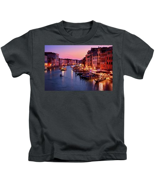 The Blue Hour From The Rialto Bridge In Venice, Italy Kids T-Shirt