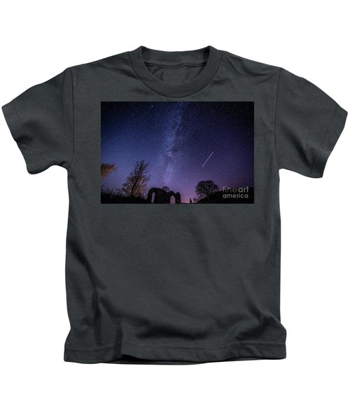 The Milky Way Over Strata Florida Abbey, Ceredigion Wales Uk Kids T-Shirt