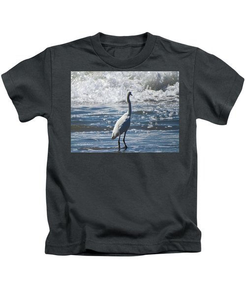 Egret And The Waves Kids T-Shirt