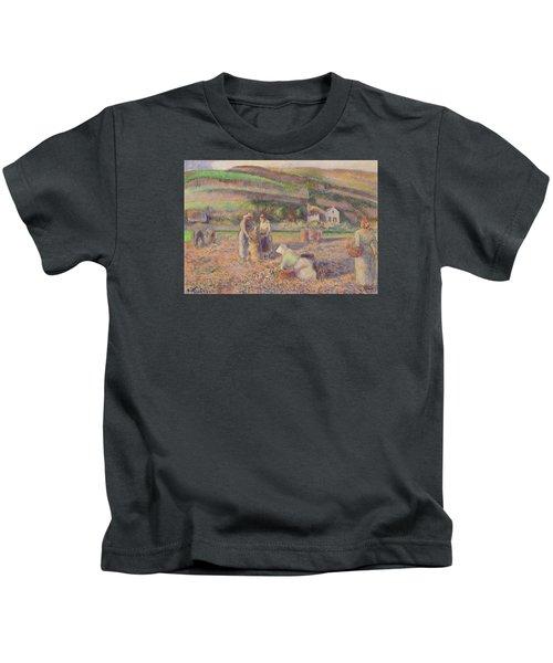 The Potato Harvest Kids T-Shirt by Camille Pissarro