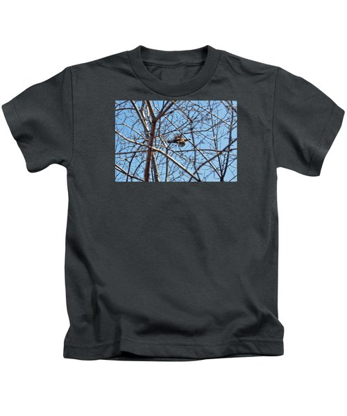 The Ruffed Grouse Flying Through Trees And Branches Kids T-Shirt by Asbed Iskedjian
