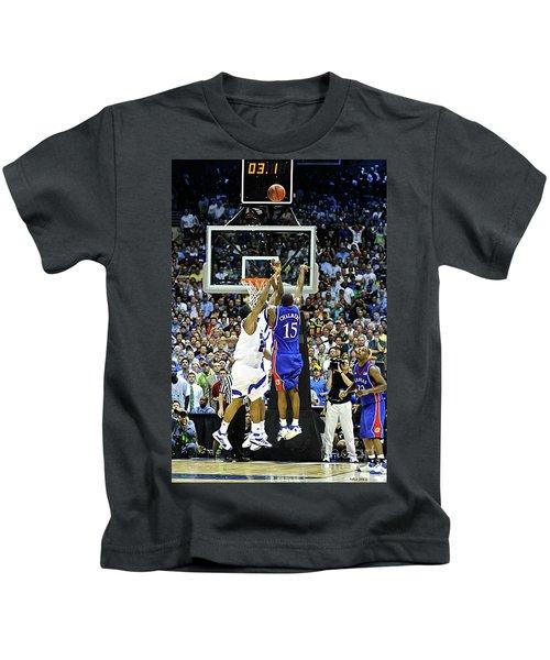 The Shot, 3.1 Seconds, Mario Chalmers Magic, Kansas Basketball 2008 Ncaa Championship Kids T-Shirt by Thomas Pollart