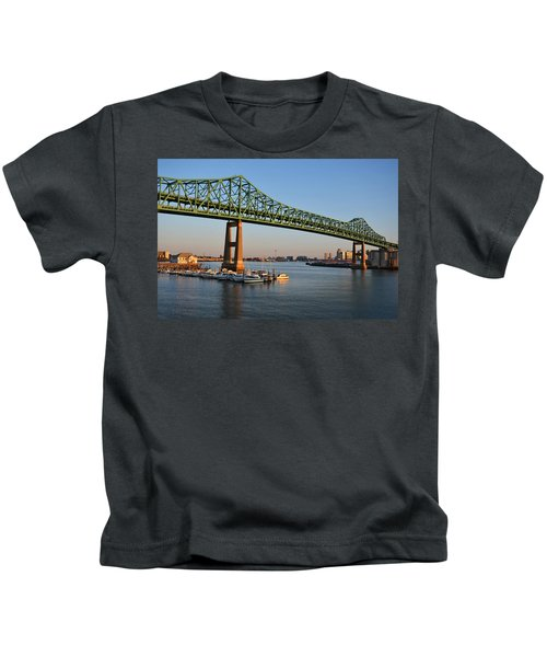 The Tobin Bridge Into The Sunset Chelsea Yacht Club Kids T-Shirt