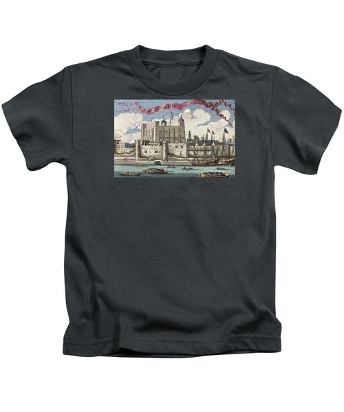 The Tower Of London Seen From The River Thames Kids T-Shirt by English School