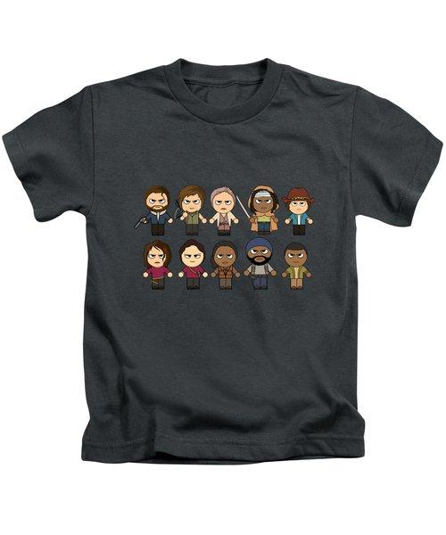 The Walking Dead - Main Characters Chibi - Amc Walking Dead - Manga Dead Kids T-Shirt