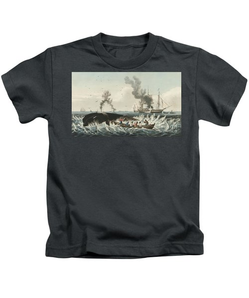 The Whale Fishery Attacking A Sperm Whale And Cutting In Kids T-Shirt