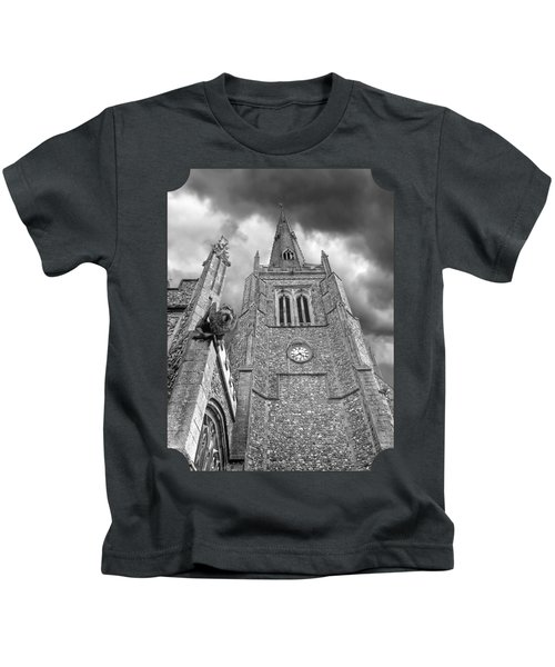 The Wrath Of God - Thaxted Church In Black And White Kids T-Shirt