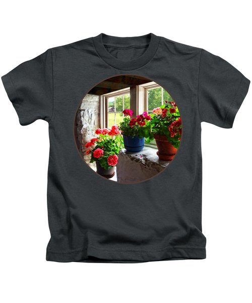 Three Pots Of Geraniums On Windowsill Kids T-Shirt